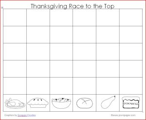 Free Printable Thanksgiving Race to the Top Game for preschool and kindergarten