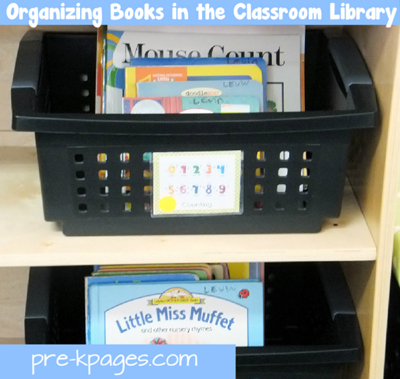 Organizing books in a pre-k or kindergarten classroom library via www.pre-kpages.com
