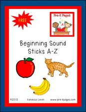 Free Beginning Sounds Paint Stick Printable Activity via www.pre-kpages.com