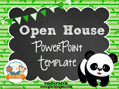 Panda Open House PowerPoint Template for #preschool and #kindergarten