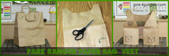Easy DIY Paper Bag Park Ranger Vest for Dramatic Play Camping Theme in Preschool and Kindergarten