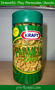 dramatic play grocery store parmesan cheese