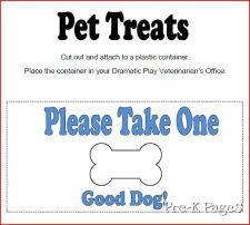 vet clinic pet treats label