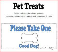 vet clinic pet treats label
