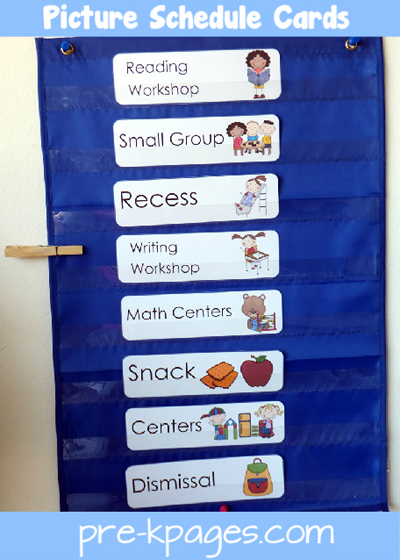Daily picture schedule cards in pocket chart for preschool and kindergarten via www.pre-kpages.com