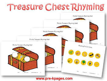 Printable Pirate Treasure Rhyming Game for #preschool and #kindergarten