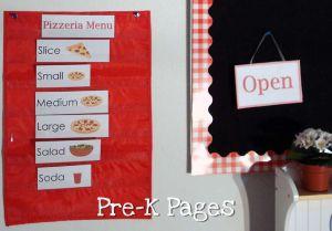 pizzeria pocket chart menu