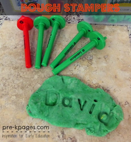 Stamping Names in Play Dough in #preschool and #kindergarten