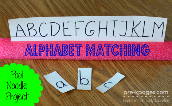 Pool Noodle Letter Matching Activity for #preschool or #kindergarten