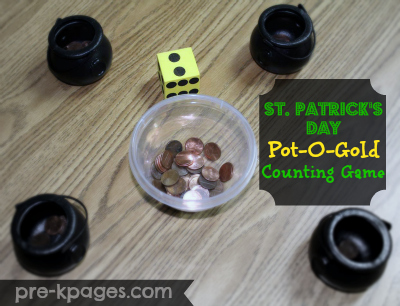 St. Patrick's Day Pot of Gold Counting Game via www.pre-kpages.com
