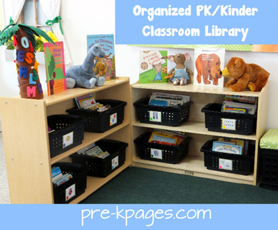 Organized Classroom Library in Preschool or Kindergarten