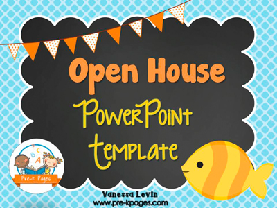 Fish Theme Open House PowerPoint Template for #preschool and #kindergarten