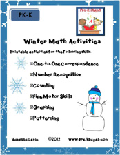Printable Math Activities for Pre-K and Kindergarten via www.pre-kpages.com
