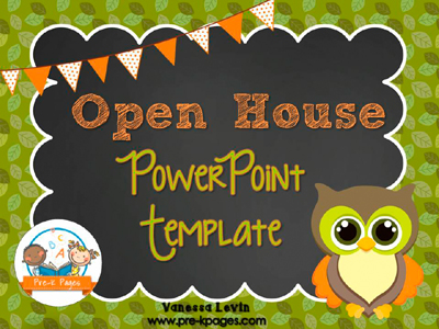 Owl Open House PowerPoint Template for #preschool and #kindergarten
