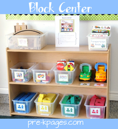 Organized Preschool Block Center via www.pre-kpages.com