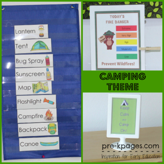 Dramatic Play Camping Theme Printables for Preschool and Kindergarten