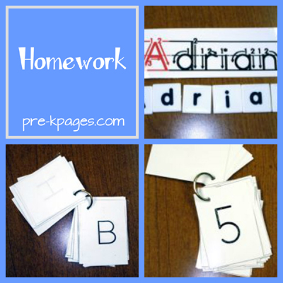 Homework for Preschool, Pre-K, or Kindergarten via www.pre-kpages.com