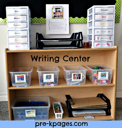 Writing Center in Pre-K or Kindergarten via www.pre-kpages.com