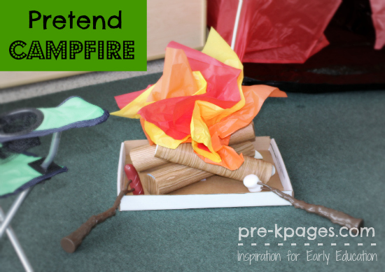 Pretend DIY Campfire for Dramatic Play Camping Theme in Preschool and Kindergarten