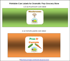printable can labels for dramatic play grocery store