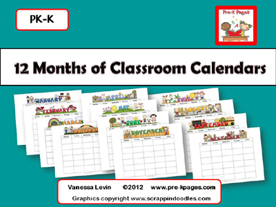 Printable editable classroom calendars for all 12 months