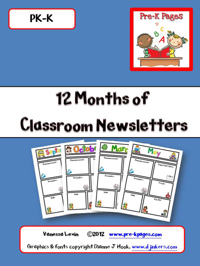 Printable and Editable Classroom Newsletters for all 12 months via www.pre-kpages.com