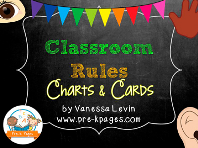 Printable Classroom Rule Picture Charts and Cards for Preschool, Pre-K, and Kindergarten