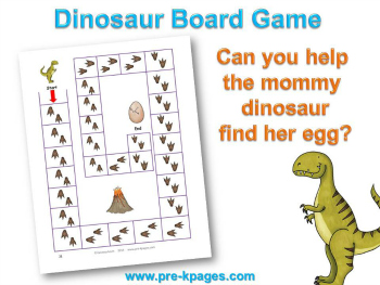 Printable Dinosaur Board Game for 1:1 in #preschool and #kindergarten