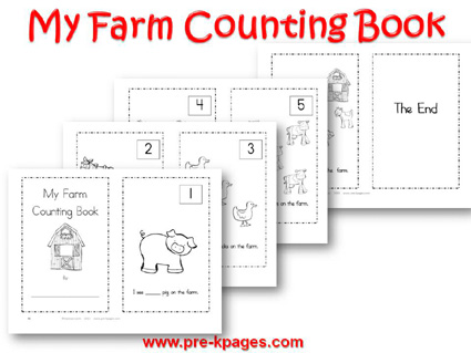 Printable Farm Counting Book for preschool and kindergarten