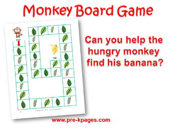 Printable Monkey Board Game for preschool or kindergarten