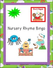 Free printable nursery rhyme bingo game via www.pre-kpages.com