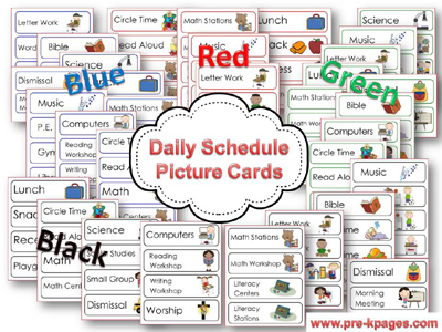 Schedule Cards For Preschool And Kindergarten