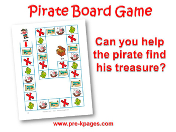 Printable Pirate Board Game for #preschool and #kindergarten