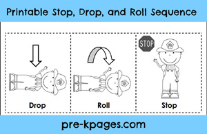 Free printable stop drop and roll sequence pictures via www.pre-kpages.com