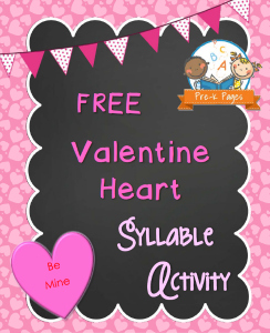 FREE Printable Valentine Heart Syllable Activity for Preschool and Kindergarten