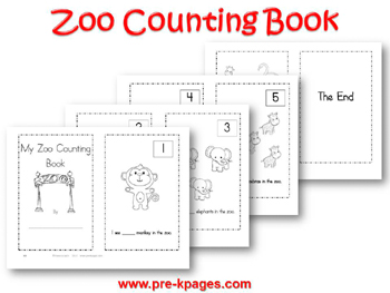 Printable Zoo Counting Book for preschool and kindergarten