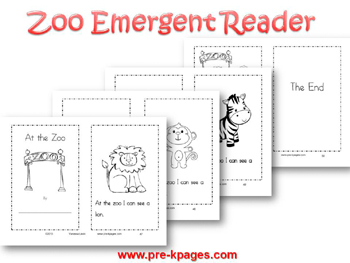 Printable Zoo Emergent Reader for pre-k and kindergarten