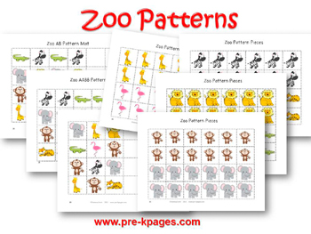 Printable Zoo Pattern Activity for pre-k and kindergarten