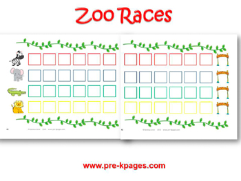 Printable Zoo Races Board Game for preschool and kindergarten