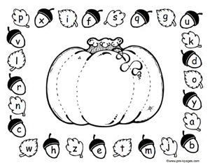 Free Printable Pumpkin Alphabet Matching Mat via www.pre-kpages.com