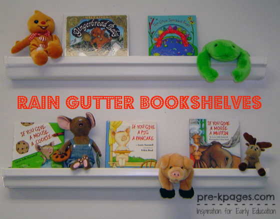 Rain Gutter Bookshelves from The Read-Aloud Handbook by Jim Trelease