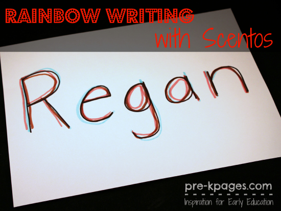 Rainbow Writing Names with Scentos in #preschool and #kindergarten