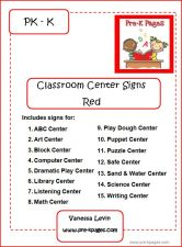 red classroom center signs