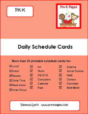 Red picture schedule cards packet for preschool and kindergarten via www.pre-kpages.com