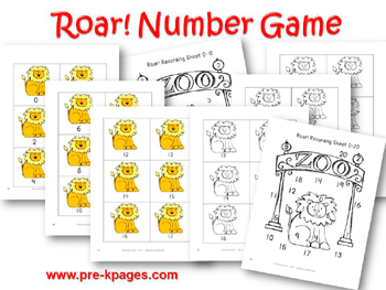 Roar! Printable Number Identification Game for preschool and kindergarten