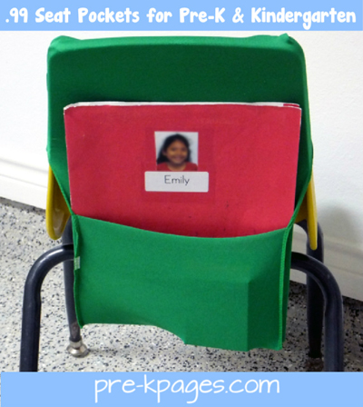 seat pockets for preschool and kindergarten via www.pre-kpages.com