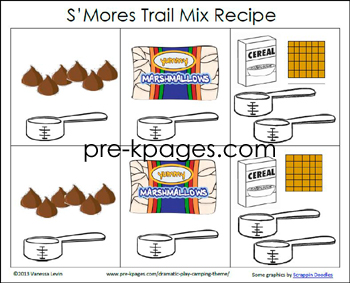 Free S'Mores Printable Rebus Recipe for Preschool and Kindergarten