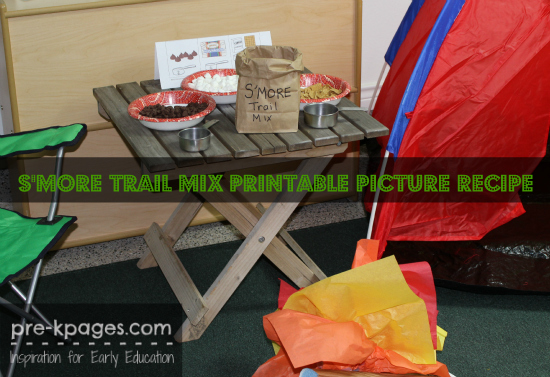 Printable S'Mores Trail Mix Recipe for Camping Theme