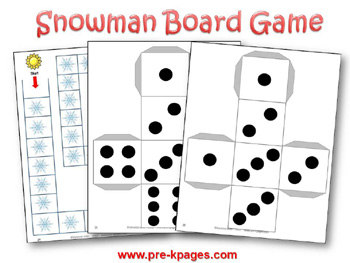 Snowman Printable Board Game via www.pre-kpages.com