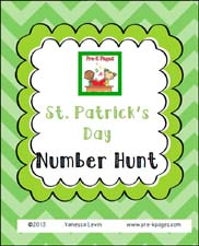Free St. Patrick's Number Hunt Printable for Preschool via www.pre-kpages.com